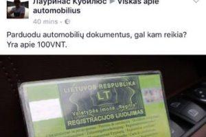 Akibrokštas: socialiniame tinkle pardavinėja automobilių registracijos liudijimus