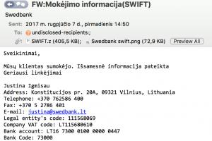 """""""Swedbank"""" perspėja: sukčiai siuntinėja fiktyvius laiškus"""
