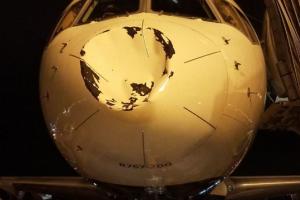 """Per plauką nuo tragedijos: į """"Thunder"""" lėktuvą rėžėsi nežinomas objektas"""