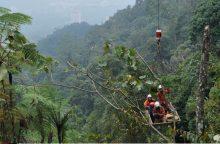 Malaizijos saloje sugedus lynų keliui ant kalno buvo įstrigę šimtai turistų