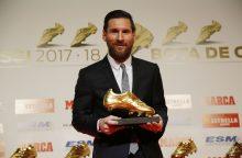 Futbolininkui L. Messiui penktą kartą įteiktas auksinis batelis