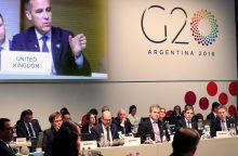 G20: išaugusi įtampa dėl prekybos ir geopolitikos kelia grėsmę ekonomikos plėtrai