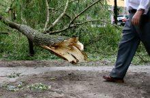 Naktį ugniagesiai šalino nuvirtusius medžius, ryte vietomis – vis dar smarkus vėjas