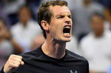 Pirmąją vietą reitinge besivejantis A. Murray išvargo pergalę Vienoje