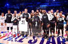 """NBA """"Visų žvaigždžių"""" rungtynes laimėjo L. Jameso komanda"""