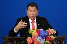 Filipinų lyderio pareiškimas apie atsisveikinimą su JAV sukėlė sąmyšį