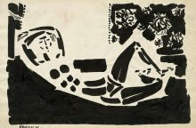 Impulso pagautas V. Kasiulis piešė ir laikraščio paraštėse