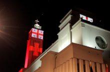 Prisikėlimo bažnyčia nušvito Gruzijos vėliavos spalvomis